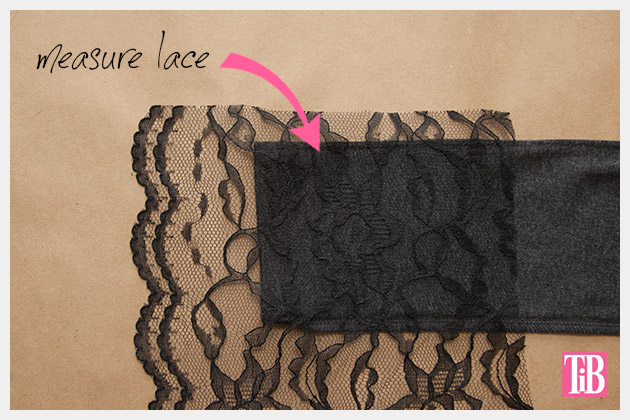DIY T-Shirt with Lace Cuffs Measuring