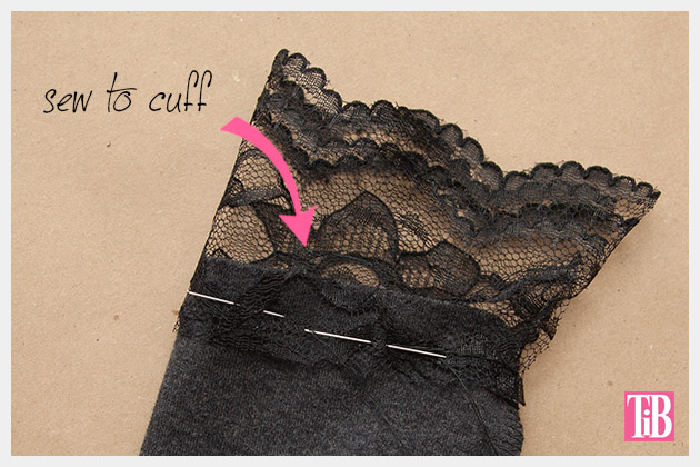 DIY T-Shirt with Lace Cuffs Sewing