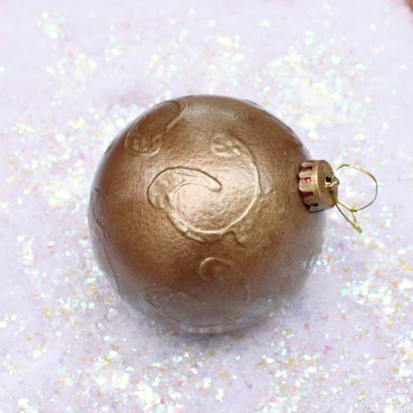Designer Inspired Faux Bronze Christmas Ornament by Dollar Store Crafts