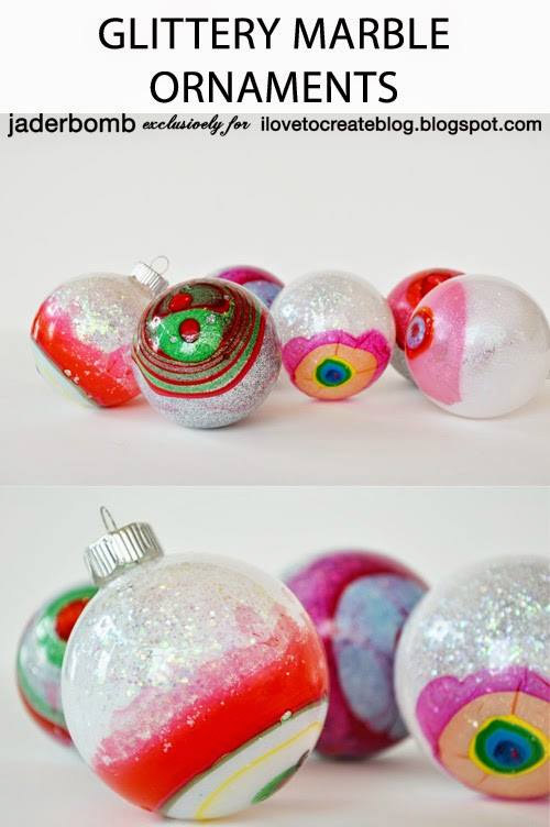 Glittery Marble Ornaments by Jaderbomb