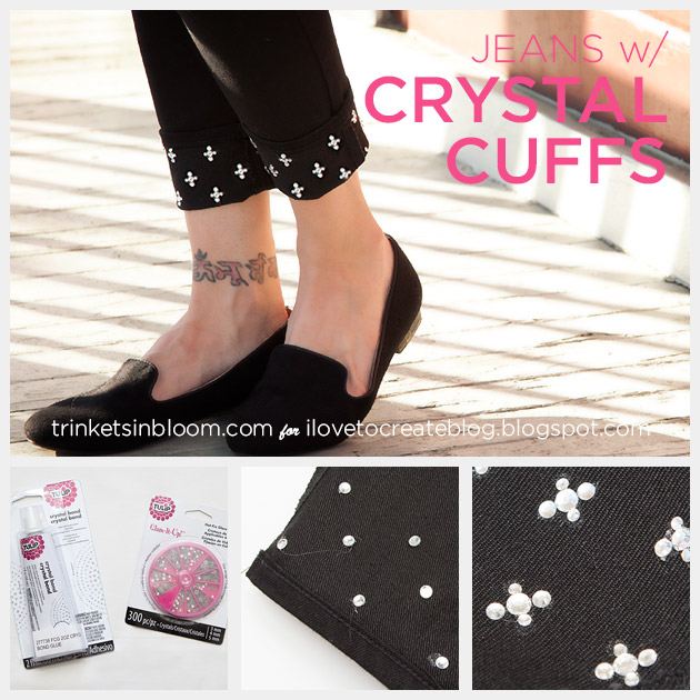 Crystal Embellished Jeans by Trinkets in Bloom