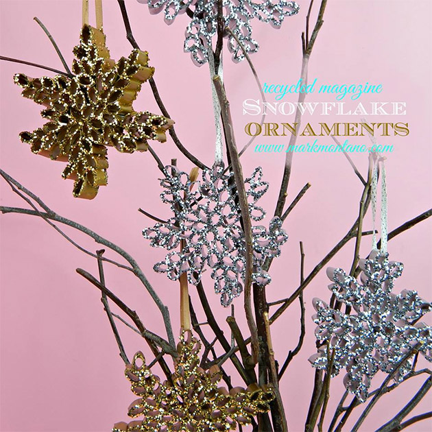 Recycled Magazine Snowflake Ornaments by Mark Montano