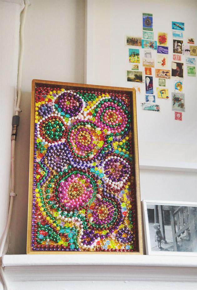 Mardi Gras Bead Mosaic by Aunt Peaches