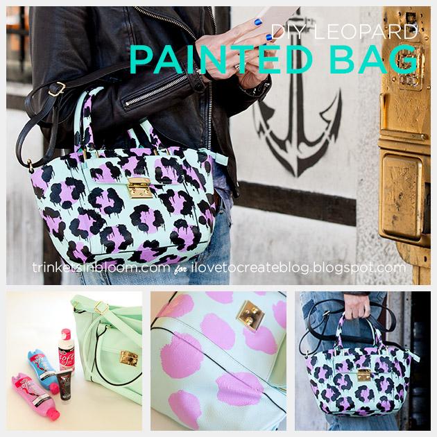 DIY Leopard Painted Bag tutorial by Trinkets in Bloom