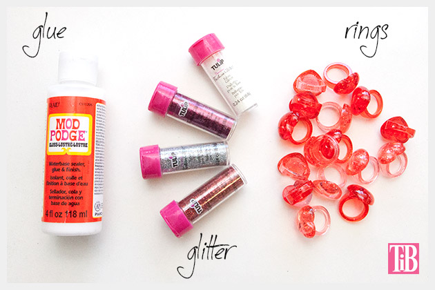 Valentine Glitter Heart Rings Supplies