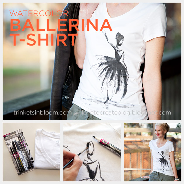 Watercolor Ballerina T-Shirt DIY Feature on Trinkets in Bloom