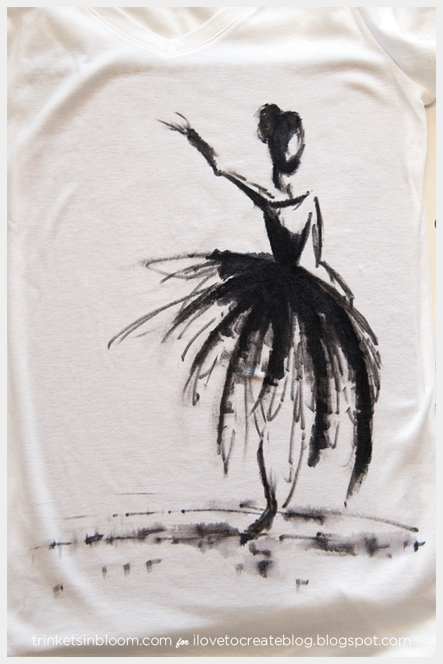 Watercolor Ballerina T-Shirt Finished