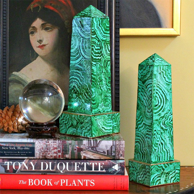 Faux Malachite Obelisks by Mark Montano