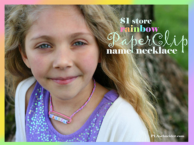 Rainbow Paperclip Name Necklace by PLA Schnieder