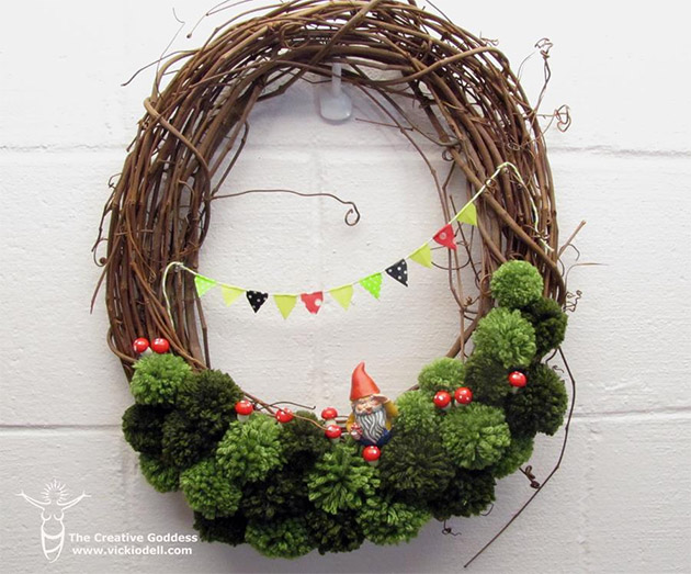 Spring Grapevine and Pom Pom Wreath by Vicki O'Dell