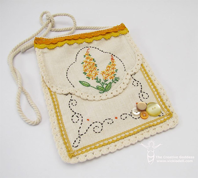 Vintage Needlework Small Bag by Vicki O'Dell