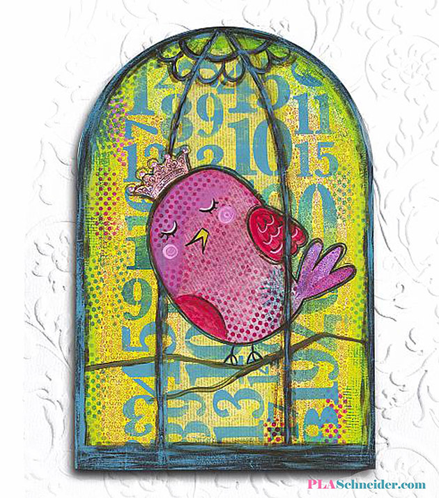 Mixed Media Caged Bird by PLA Schneider