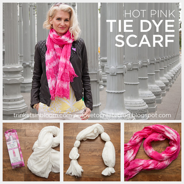 Hot Pink Tie Dye Scarf by Trinkets in Bloom for I Love To Create
