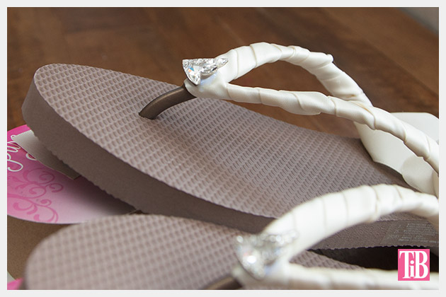 Chanel Inspired Flip Flops letting glue dry