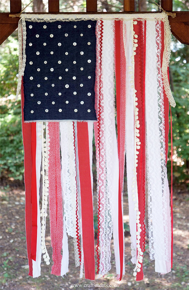 Patriotic Ribbon, Lace and Fabric Scrap Flag by Craftiments