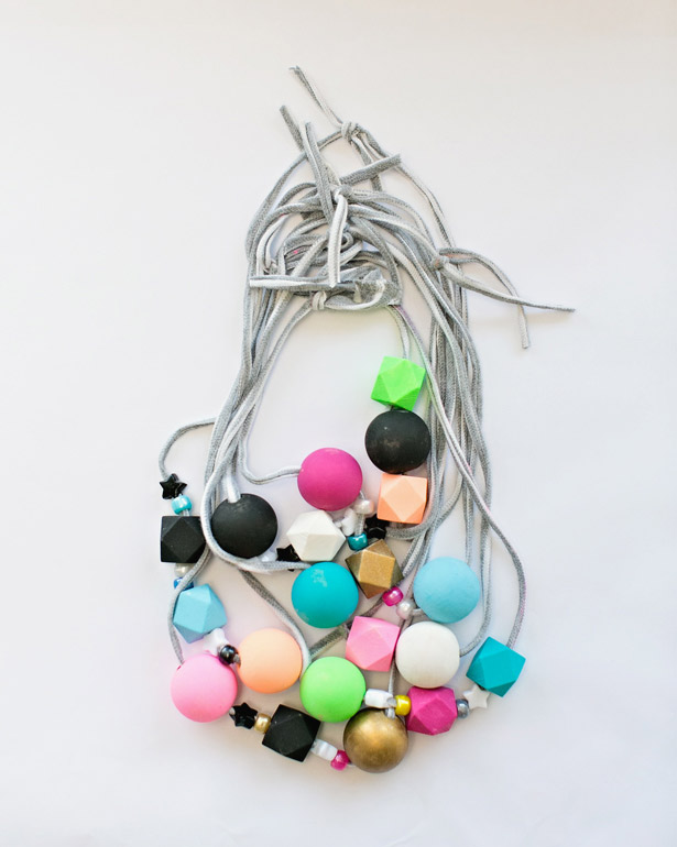 Kid-Made T-Shirt Yarn Beaded Necklaces by Hello, Wonderful