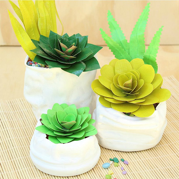 Duct Tape Succulents and Faux Pinch Pots by Mark Montano