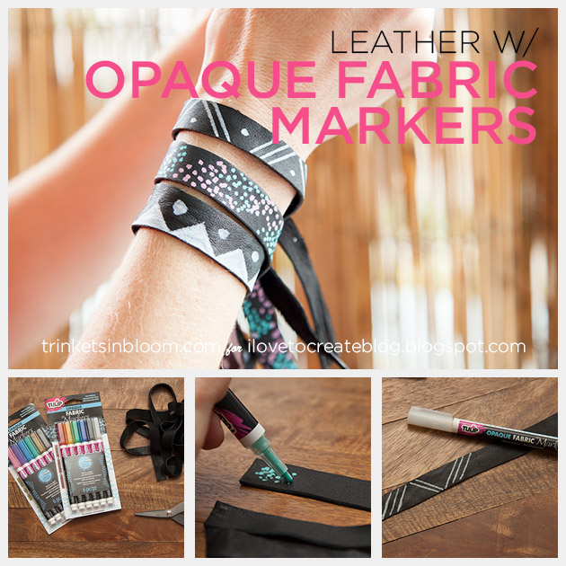 DIY Leather Bracelets with Opaque Fabric Markers