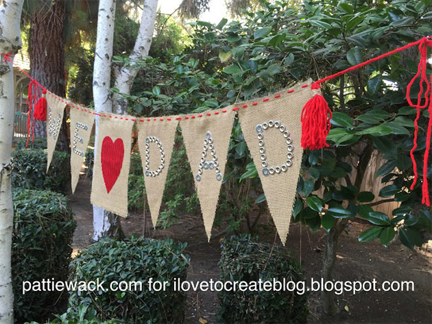 DIY Father's Day Burlap Banner by Pattiewack for i Love To Create