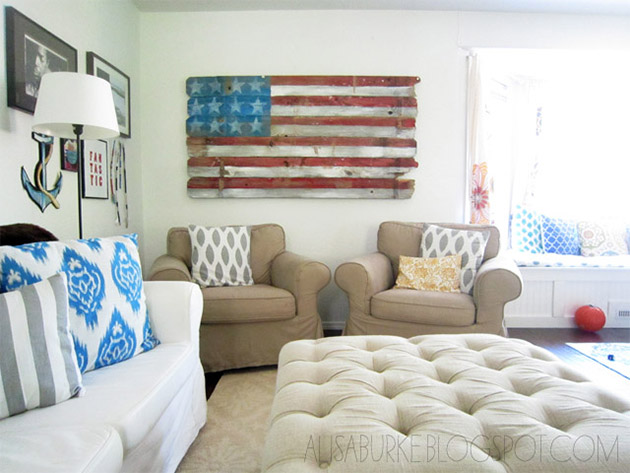 Reclaimed Wood American Flag by Alisa Burke