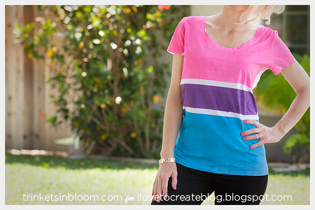 DIY Colorblock T-Shirt by Trinkets in Bloom for i Love To Create