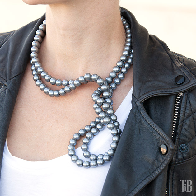 Stella McCartney Inspired DIY Wired Pearl Necklace with jacket closeup