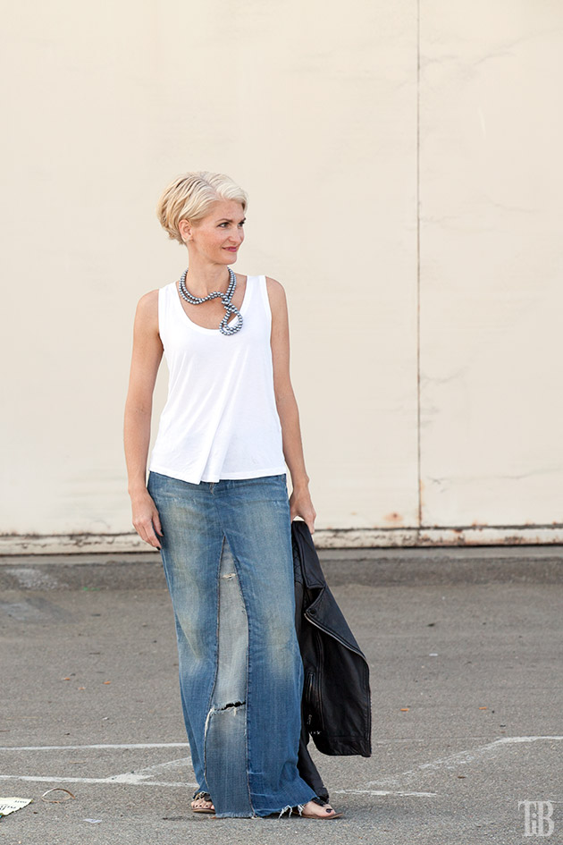 Stella McCartney Inspired DIY Wired Pearl Necklace tank long
