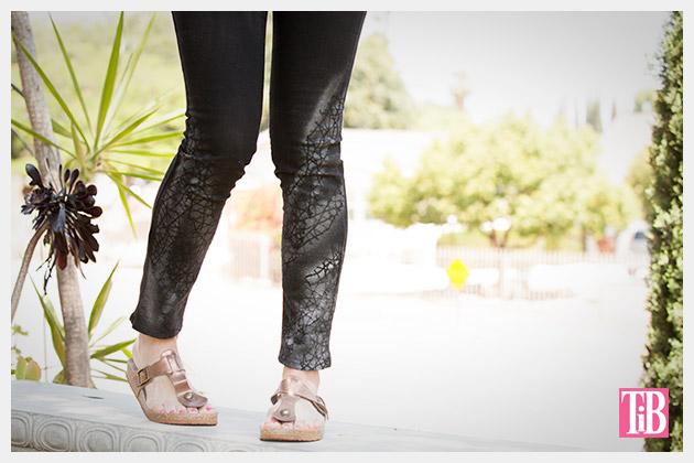 Painted Jeans DIY closeup by Trinkets in Bloom