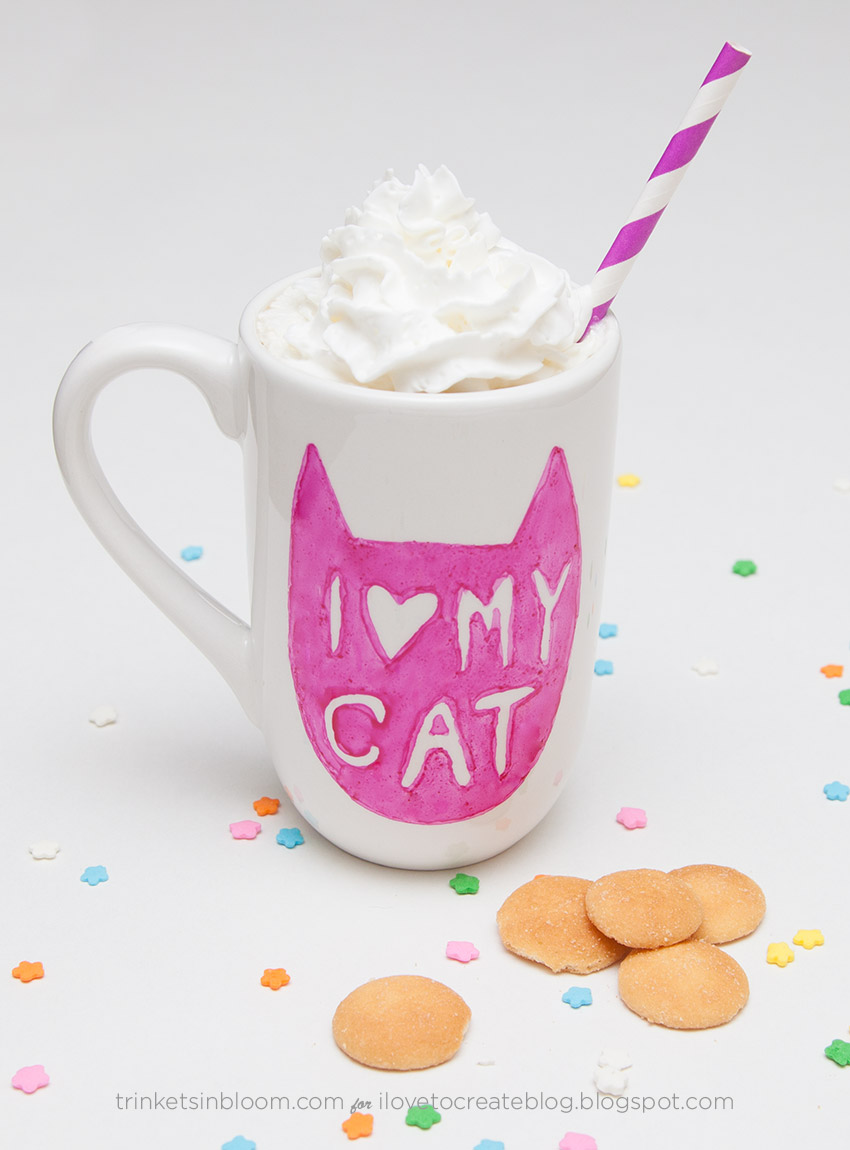 Painted by Me Doodled Cat Mug by Trinkets in Bloom