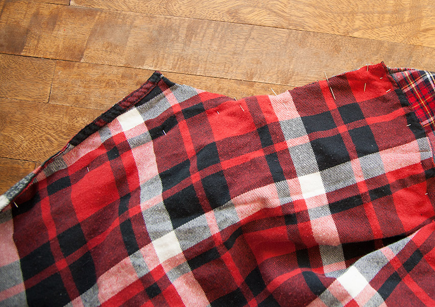 Patched Plaid Shirt DIY pinning the armhole