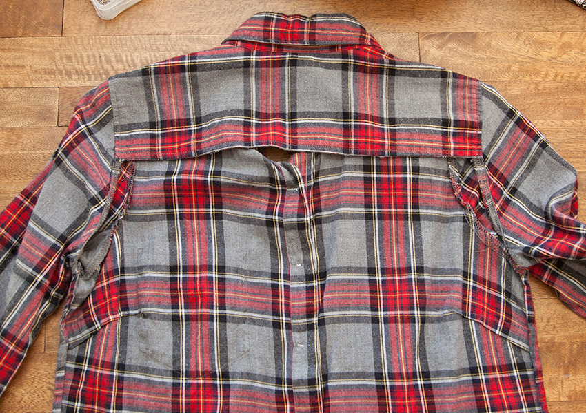 Patched Plaid Shirt DIY shirt with back cut out