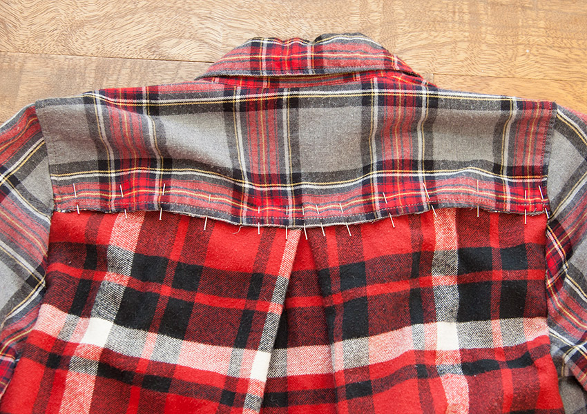 Patched Plaid Shirt DIY back pinned