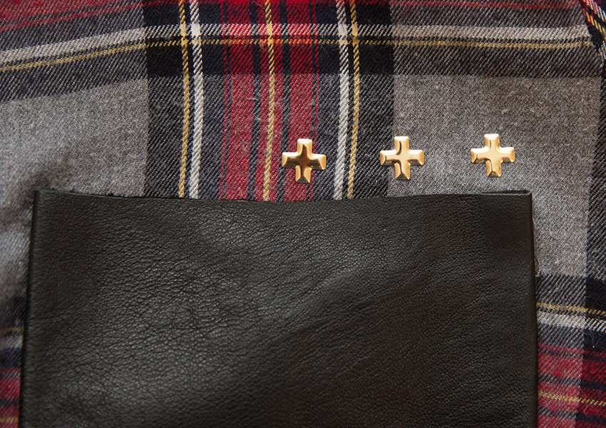 Patched Plaid Shirt DIY adding studs