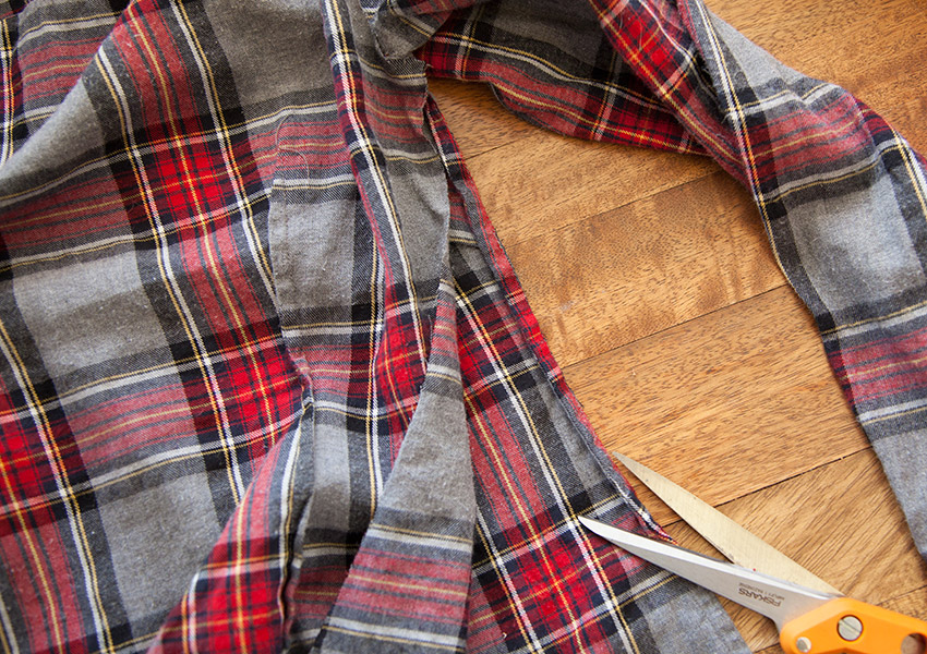 Patched Plaid Shirt DIY cutting sides