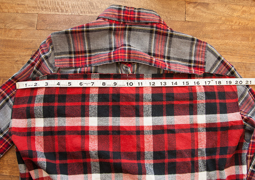 Patched Plaid Shirt DIY measuring back
