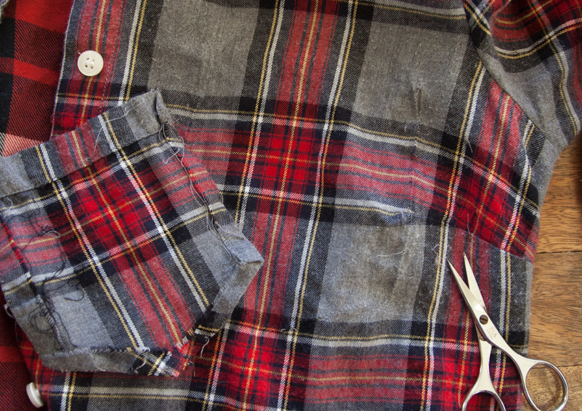 Patched Plaid Shirt DIY shirt pocket removed