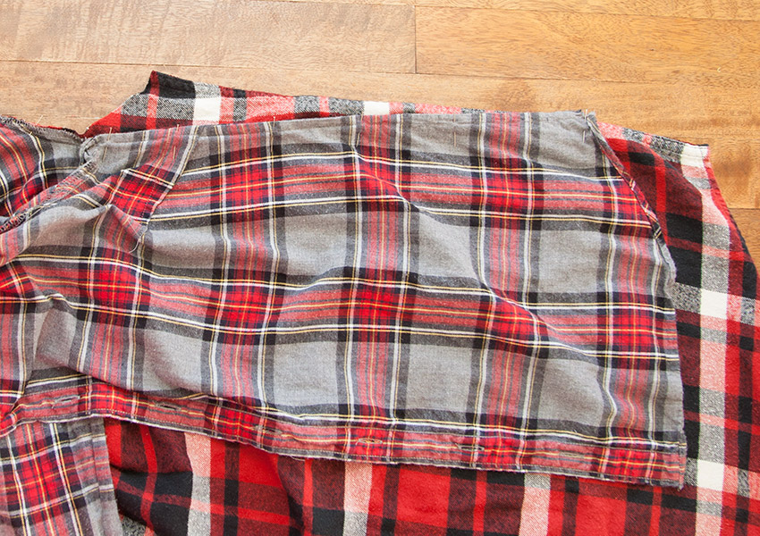 Patched Plaid Shirt DIY side pinned