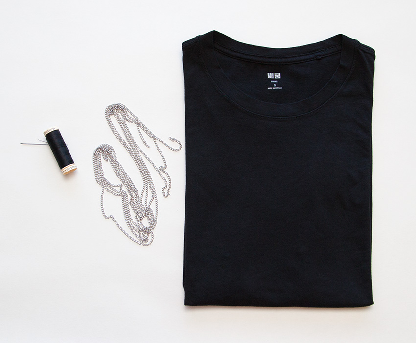 DIY Tee with Chains supplies