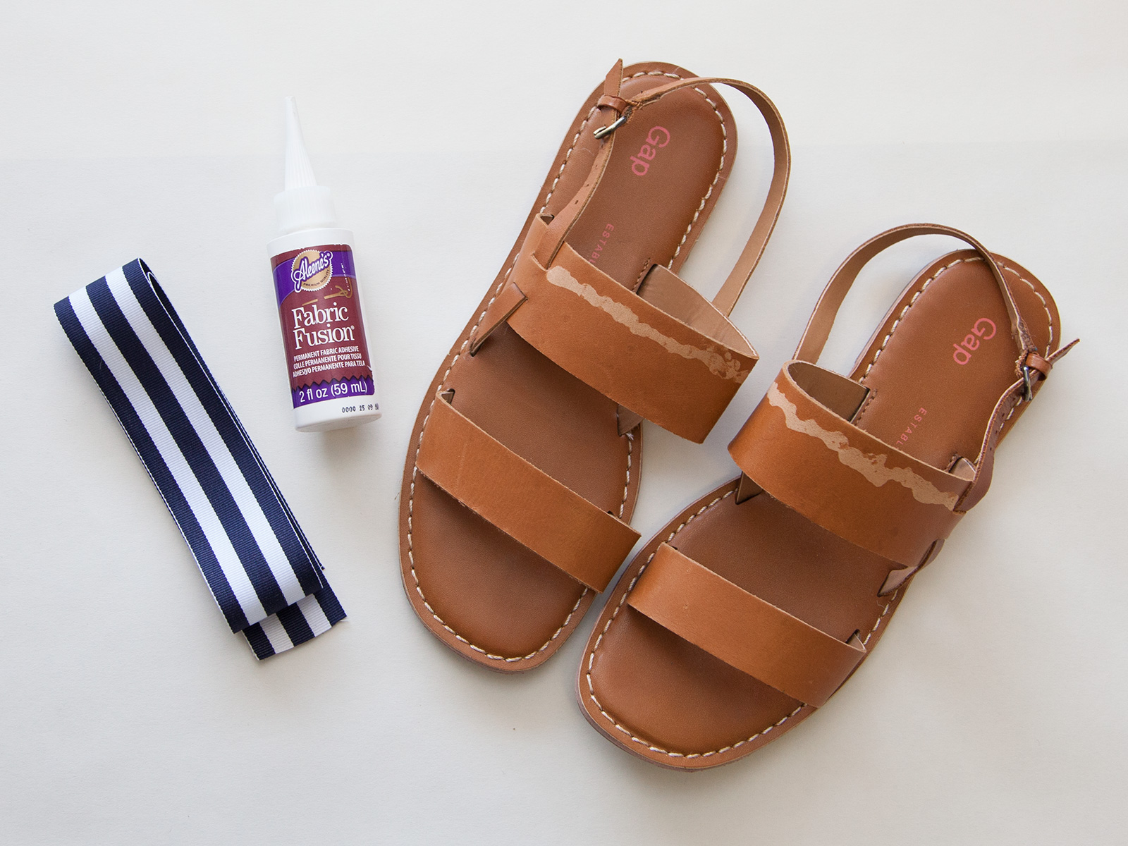 DIY Striped Sandals supplies by Trinkets in Bloom