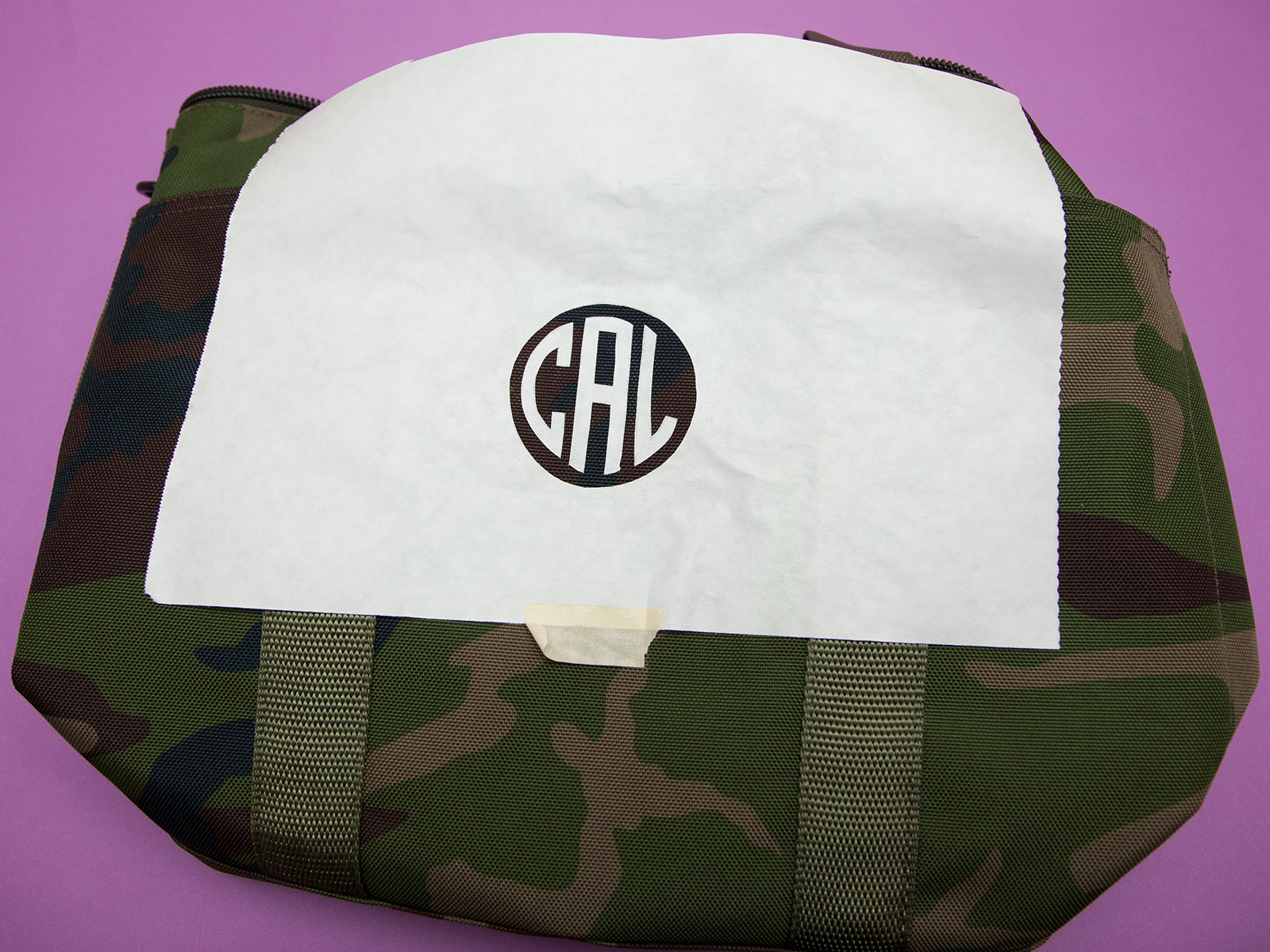 DIY Monogramed Camo Tote ironing by Trinkets in Bloom