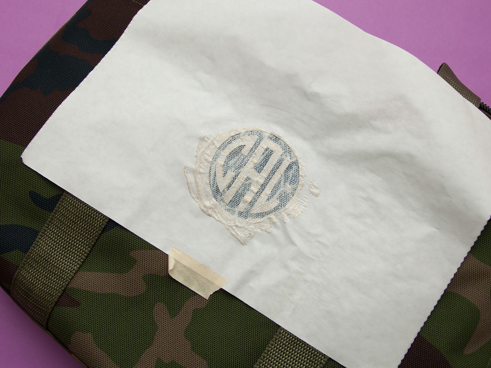DIY Monogramed Camo Tote painting by Trinkets in Bloom