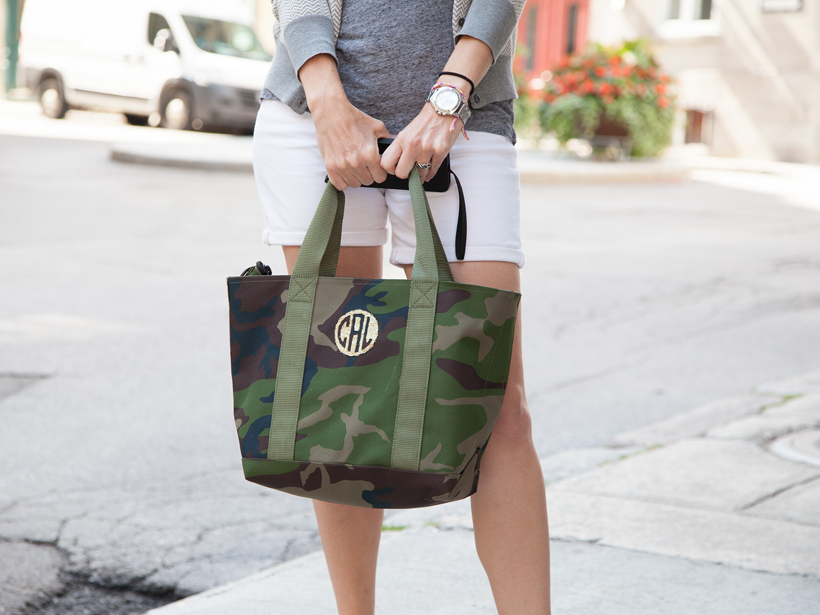 DIY Monogramed Camo Tote Photo 2 by Trinkets in Bloom