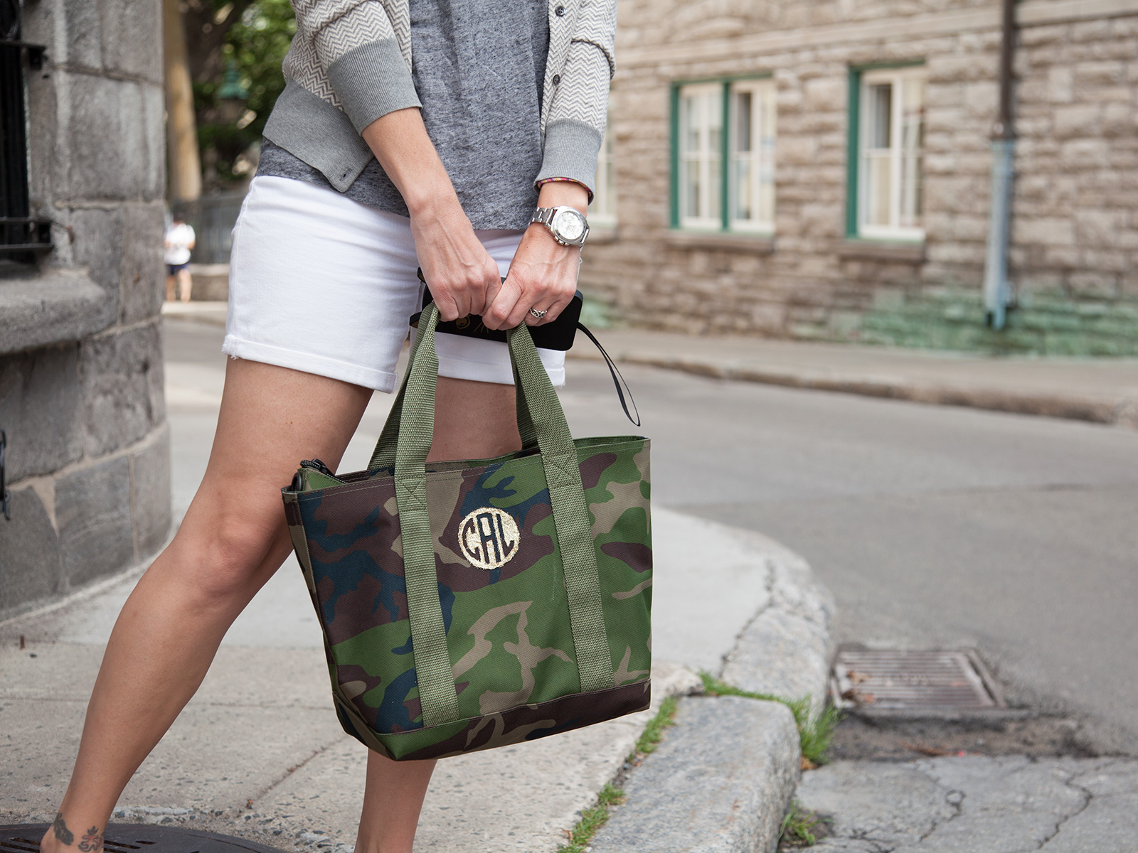 DIY Monogramed Camo Tote photo 3 by Trinkets in Bloom