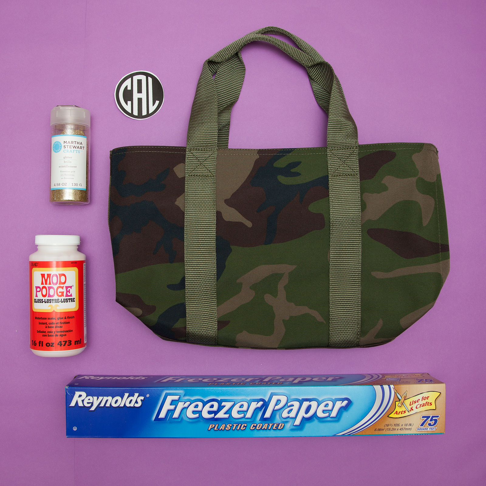 DIY Monogramed Camo Tote supplies by Trinkets in Bloom