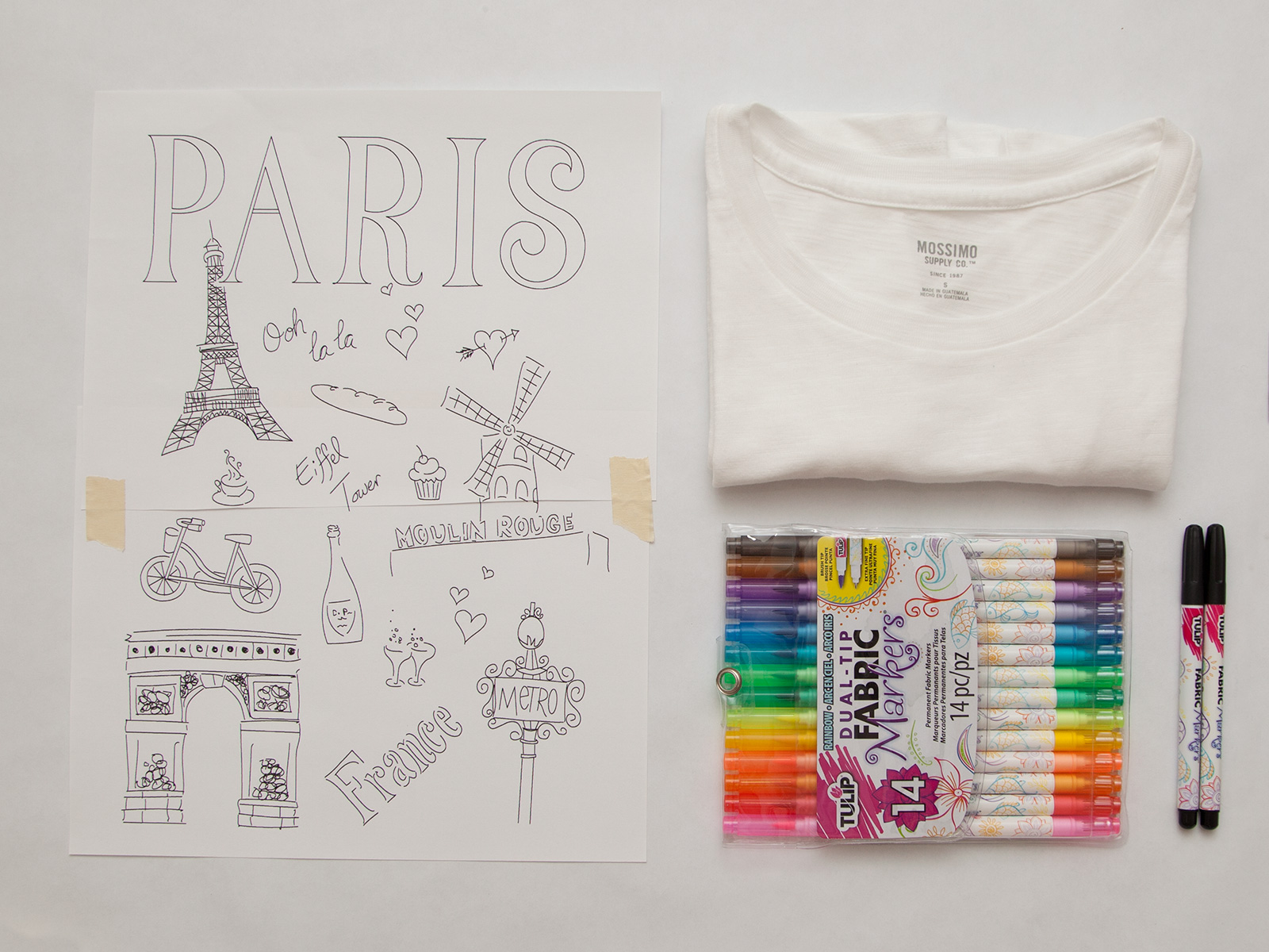 DIY Paris Doodle T-Shirt Supplies by Trinkets in Bloom