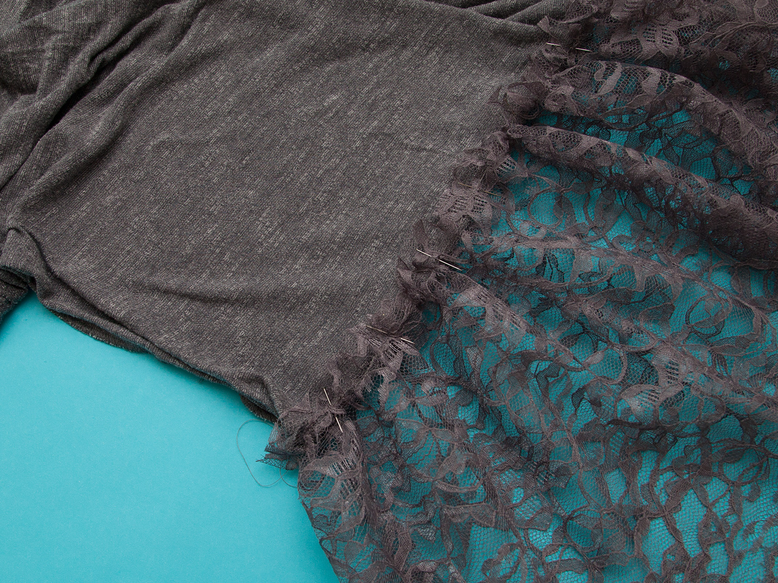 DIY Lace Edged T-Shirt pin to tee by Trinkets in Bloom