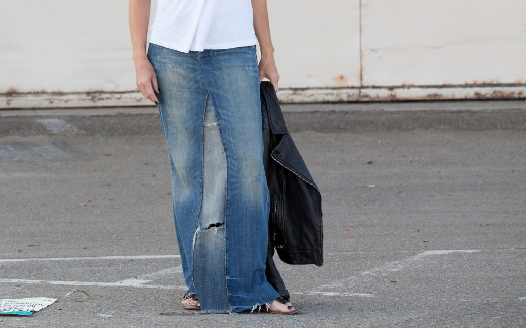 Maxi jean skirt made from two pairs of jeans