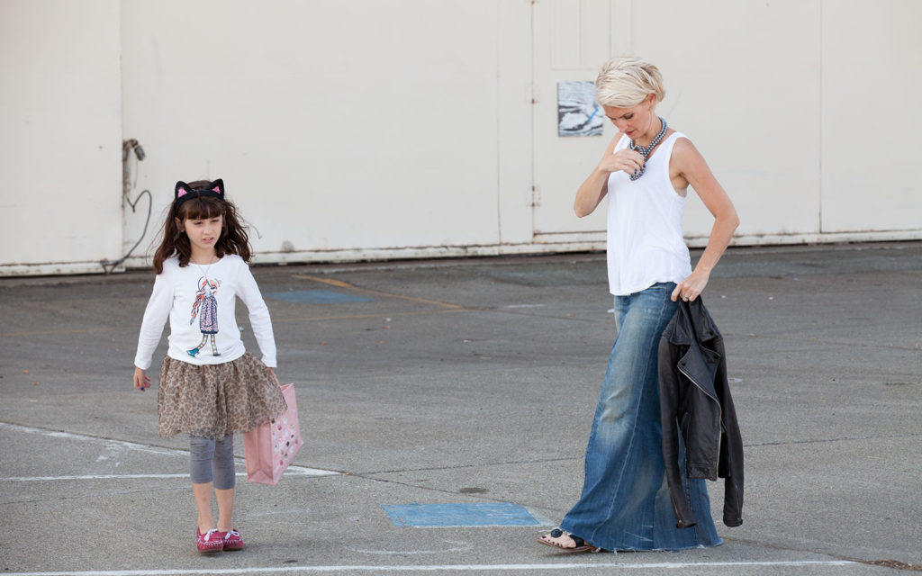 Maxi jean skirt made from two pairs of jeans BTS image with my daughter