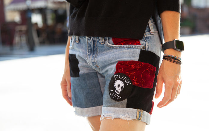 finished patched jean shorts DIY front view