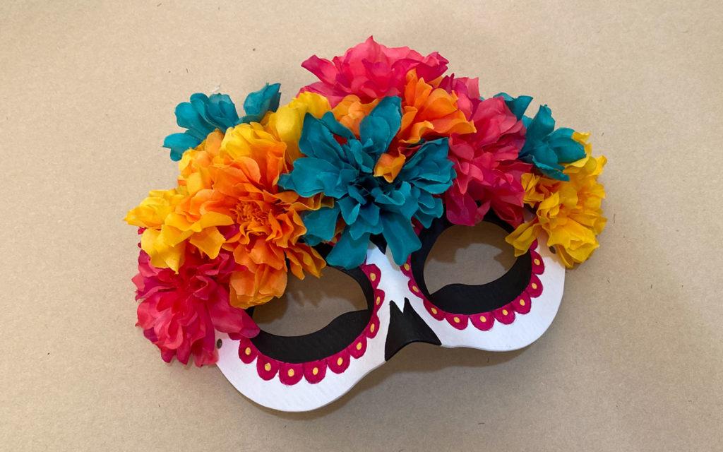 Dia de los Muertos Mask adding flowers